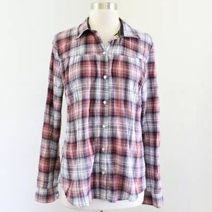 Isabella Sinclair Smocked Plaid Button Down